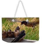 Lunch Is Served To The Fourth Baby Barn Swallow Weekender Tote Bag