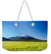 Lush Green Meadow And Mount Bachelor Weekender Tote Bag