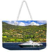 Luxury Yacht At The Coast Of French Riviera Weekender Tote Bag