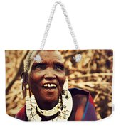 Maasai Old Woman Portrait In Tanzania Weekender Tote Bag