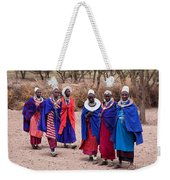 Maasai Women In Front Of Their Village In Tanzania Weekender Tote Bag