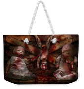 Macabre - Dolls - Having A Friend For Dinner Weekender Tote Bag by Mike Savad