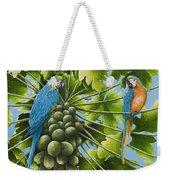 Macaw Parrots In Papaya Tree Weekender Tote Bag