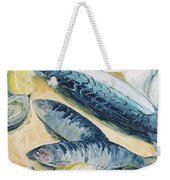 Mackerel With Oysters And Lemons, 1993 Oil On Paper Weekender Tote Bag