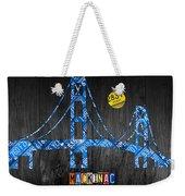 Mackinac Bridge Michigan License Plate Art Weekender Tote Bag