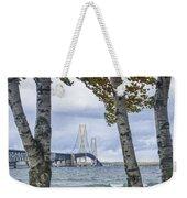Mackinaw Bridge In Autumn By The Straits Of Mackinac Weekender Tote Bag