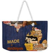 Made In Michigan Products Vintage Map On Wood Weekender Tote Bag