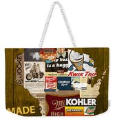 Made In Wisconsin Products Vintage Map On Wood Weekender Tote Bag