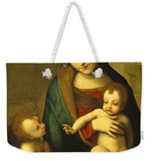 Madonna And Child With The Infant Saint John Weekender Tote Bag by Antonio Allegri Correggio