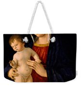Madonna With The Child Blessing Weekender Tote Bag by Giovanni Bellini