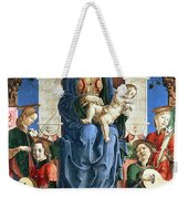 Madonna With The Child Enthroned  Weekender Tote Bag by Cosme Tura