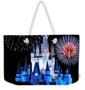 Magic Kingdom Castle In Blue With Fireworks Weekender Tote Bag
