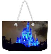 Magic Kingdom Castle In Deep Blue With Fireworks Weekender Tote Bag