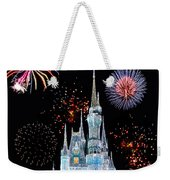 Magic Kingdom Castle In Frosty Light Blue With Fireworks 06 Weekender Tote Bag