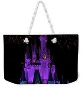 Magic Kingdom Castle In Purple With Fireworks 01 Weekender Tote Bag