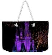 Magic Kingdom Castle In Purple With Fireworks 02 Weekender Tote Bag