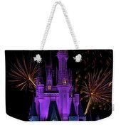 Magic Kingdom Castle In Purple With Fireworks 03 Weekender Tote Bag