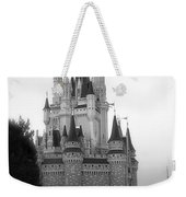 Magic Kingdom Castle Side View In Black And White Weekender Tote Bag