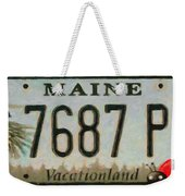 Maine License Plate Weekender Tote Bag