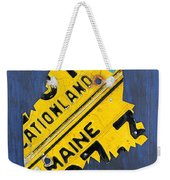 Maine License Plate Map Vintage Vacationland Motto Weekender Tote Bag