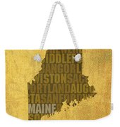 Maine Word Art State Map On Canvas Weekender Tote Bag