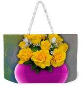 Majenta Heart Vase With Yellow Roses Weekender Tote Bag