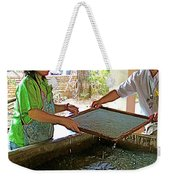 Making Paper Using Mulberry Tree Pulp At Boring Paper Factory In Chiand Mai-thailand Weekender Tote Bag