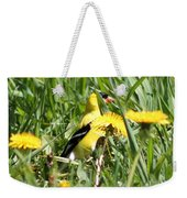Male American Goldfinch Camouflage Weekender Tote Bag