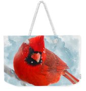 Male Cardinal On Snow Day - Dgital Paint Weekender Tote Bag