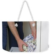 Male Doing Laundry Weekender Tote Bag