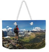 Male Hiker Standing On Top Of Mountain Weekender Tote Bag