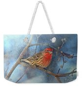 Male House Finch With Blue Texture Weekender Tote Bag