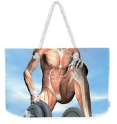 Male Musculature Looking At A Dumbbell Weekender Tote Bag