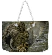 Mama Duck Protecting Her Babies Weekender Tote Bag
