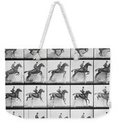 Man And Horse Jumping A Fence Weekender Tote Bag