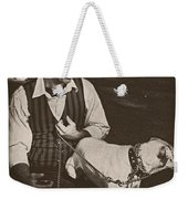 Man And White Dog In New Orleans Weekender Tote Bag