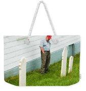 Man At Headstone Weekender Tote Bag