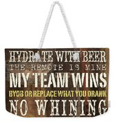 Man Cave Rules 2 Weekender Tote Bag by Debbie DeWitt