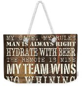 Man Cave Rules Square Weekender Tote Bag