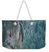 Man Climbing On A Big Granite Spire Weekender Tote Bag