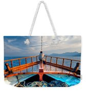 Man Day-deaming On Traditional Greek Ship Weekender Tote Bag