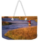 Man Fly Fishing On The Owens River Weekender Tote Bag