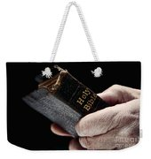 Man Hands Holding Old Bible Weekender Tote Bag