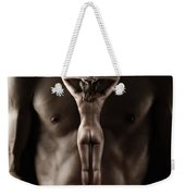 Man Holding A Naked Fitness Woman In His Hands Weekender Tote Bag