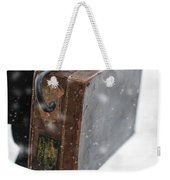 Man Holding A Vintage Leather Suitcase In Winter Snow Weekender Tote Bag