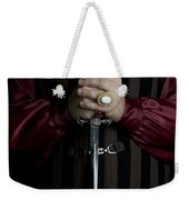 Man In Baroque Outfits Holding A Silver Dagger Weekender Tote Bag