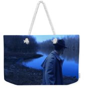 Man In Fedora By River Weekender Tote Bag