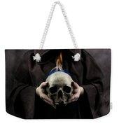 Man In The Hooded Cloak Holding Burning Human Skull In His Hand Weekender Tote Bag