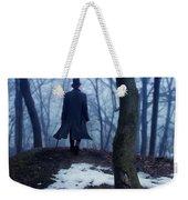Man In Top Hat Walking Through Foggy Woods Weekender Tote Bag