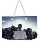 Man Meditating In The Nature During Sunrise Weekender Tote Bag